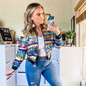 Bebe Multi-Color Sequin Sparkly Bomber Jacket S